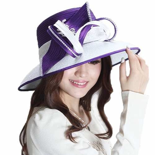 (June's Young Ladies' Satin Dress Hat Formal Hat Lace Rhinestones White/Purple)