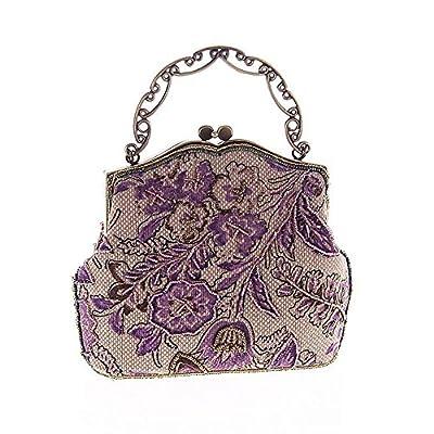 Covelin Women's Vintage Clutch Handbag Flower Beaded Evening Tote Bag Hot
