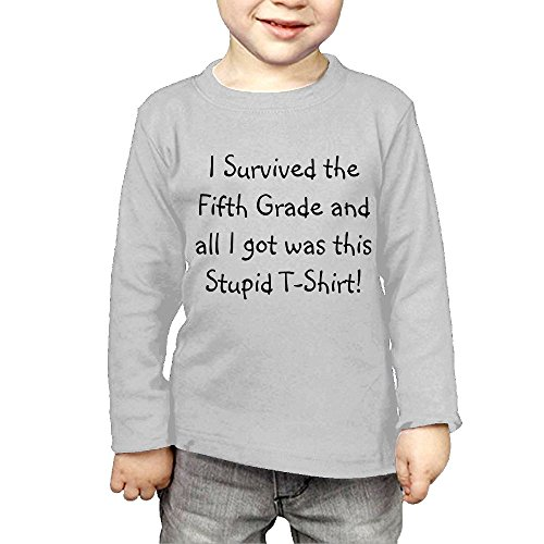 ZheuO Boys & Girls Infant I Survived The Fifth Grade Soft and Cozy 100% Cotton Tee Unisex Gray 2 (School Halloween Party Games 5th Grade)