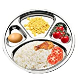TEERFU Stainless Steel Divided Plate: Set of 2 Mess Trays Great for Camping, Kids Lunch and Dinner or Every Day Use