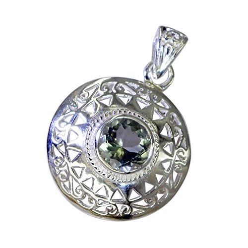 CaratYogi Natural Green Amethyst Necklaces Silver Handamde Charm For Girl Round Healing Victorian Pendant