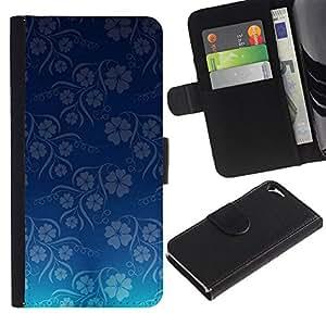 "Apple iPhone 5 / iPhone 5S , la tarjeta de Crédito Slots PU Funda de cuero Monedero caso cubierta de piel ("" Wallpaper Blue Flowers Floral Pattern"")"