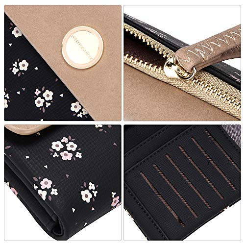 dec71d03c720 OIDERY Leather Wallets for Women Bifold Floral Ladies Clutch Wristlets  Zipper Coin Purses Large Capacity