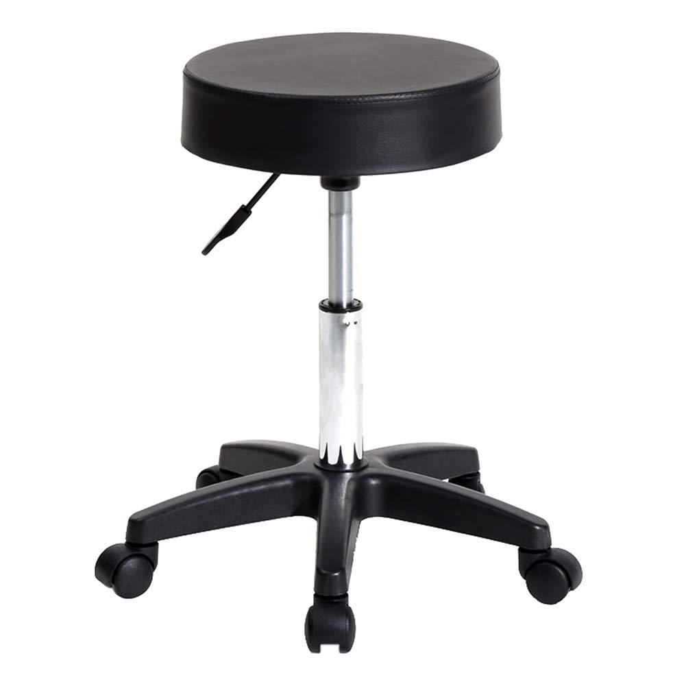Pysod Bar Chair Metal Adjustable Height Bar Chair PU Seat Surface Stool Round Stool Plastic Arch Feet Rotation Bar Stool Black