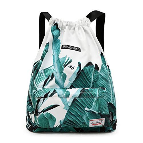 IVIM Waterproof Drawstring Bag, Gym Bag Sackpack Sports Backpack for Men Women Girls (50-White Banana -