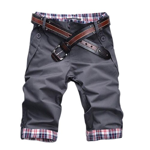 Hee Grand Mens Casual Shorts Cotton Pants Chinese L Gray