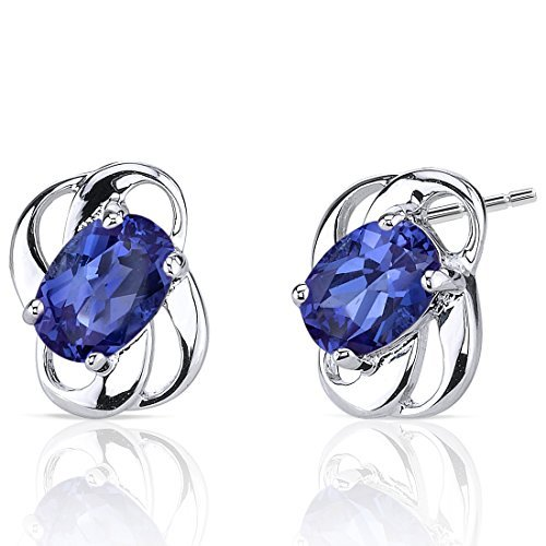 Created Sapphire Earrings Sterling Silver 2.00 Carats by Peora