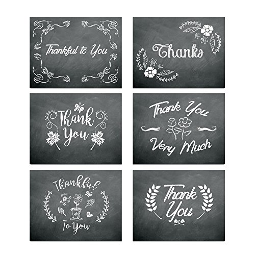Chalkboard Flowers Thank You Card Assortment Pack - Set of 36 cards blank inside - 6 designs blank inside - with white envelopes