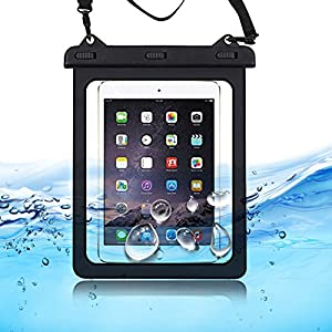 """Waterproof Phone Pouch Case Carrying Bag For Tablet Water Proof Dustproof Snowproof for iPad Mini Galaxy Tab S Amazon Fire HD 7"""" 8"""" Up To 10.1"""" Tablet Black"""