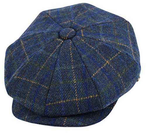 Men's Wool Newsboy Cap, Herringbone Driving Cabbie Tweed Applejack Golf Hat (2157-Navy Plaid, X-Large) -