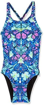 Speedo Kids ECO Fabric Elevate ONE Piece, Sparkle Butterfly, 6