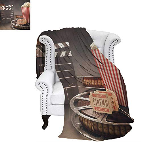warmfamily Movie Theater Custom Design Cozy Flannel Blanket Old Fashion Entertainment Objects Related to Cinema Film Reel Motion Picture Weave Pattern Blanket 62