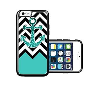 RCGrafix Brand Teal Glitter Anchor iPhone 6 Case - Fits NEW Apple iPhone 6