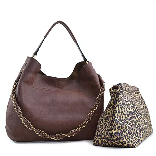 Dasein 2-in-1 Faux Leather Hobo with Organizer Bag - Coffee