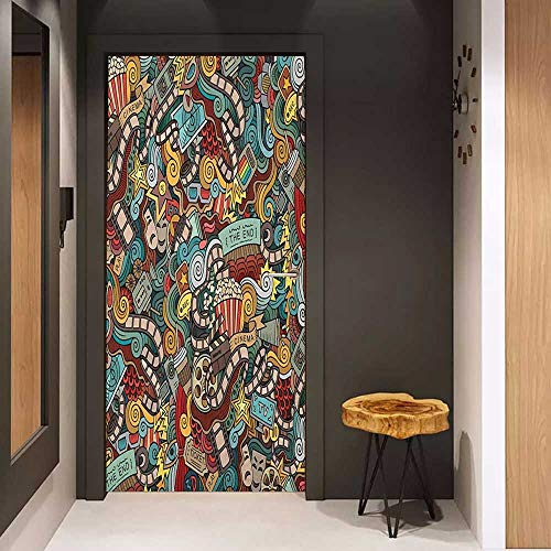 - Onefzc Door Wall Sticker Doodle Cinema Items Combined in an Abstract Style Popcorn Movie Reel The End Theatre Masks Mural Wallpaper W36 x H79 Multicolor