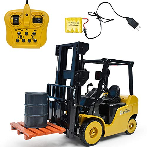 ADSRO 11-Channel Electric Remote Control Full-Featured Professional Forklift Toy, 1:8 Analog Forklift Toy Configuration Oil Drum Tool, Lift and Boom