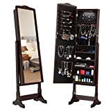 LANGRIA 10 LEDs Free Standing Jewelry Cabinet Lockable Full-Length Mirrored Jewelry Armoire with 5 Shelves, Organizer for Rings, Earrings, Bracelets, Broaches, Cosmetics, Brown