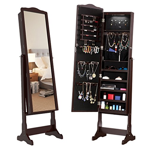 LANGRIA 10 LEDs Free Standing Jewelry Cabinet Lockable Full-Length Mirrored Jewelry Armoire with 5 Shelves, Organizer for Rings, Earrings, Bracelets, Broaches, Cosmetics, ()