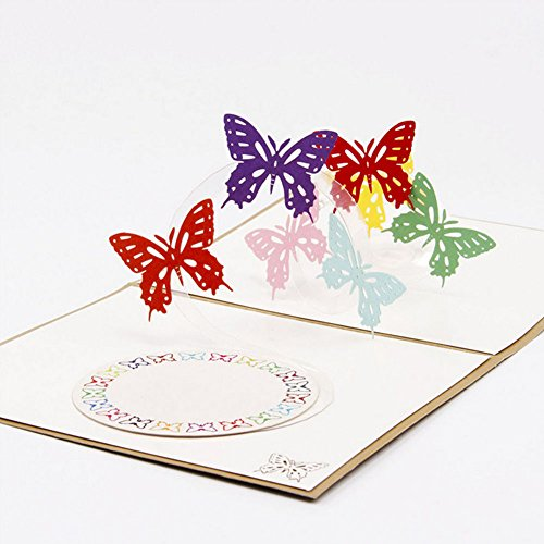 Wivily Beautiful Butterfly Handmade 3D Pop Up Christmas Cards Birthday Cards Best Wish Mother's Day Creative Greeting Cards Papercraft