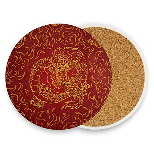 Asian Dragon Fire Red Coasters, Protection for Granite, Glass, Soapstone, Sandstone, Marble, Stone Table - Perfect Wood Coasters,Round Cup Mat Pad for Home, Kitchen or Bar Set of 4