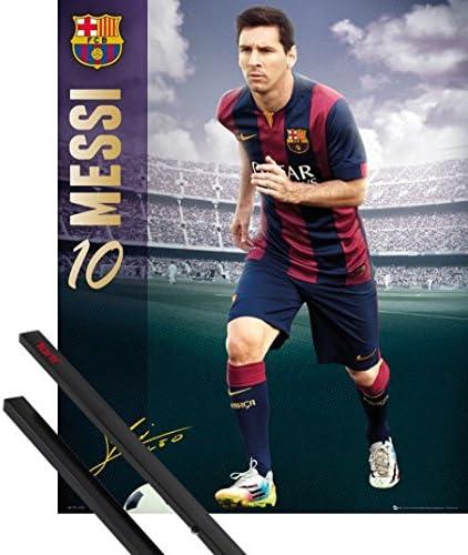 B01KAYL3CY 1art1 Football Mini Poster (20x16 inches) FC Barcelona, Messi 14/15 and 1 Set of Black Poster Hangers 512BjWS5BLSL