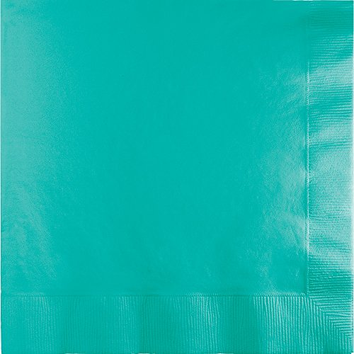 Creative Converting 324770 Touch of Color 600 Count Paper Lunch Napkins, Teal Lagoon ()