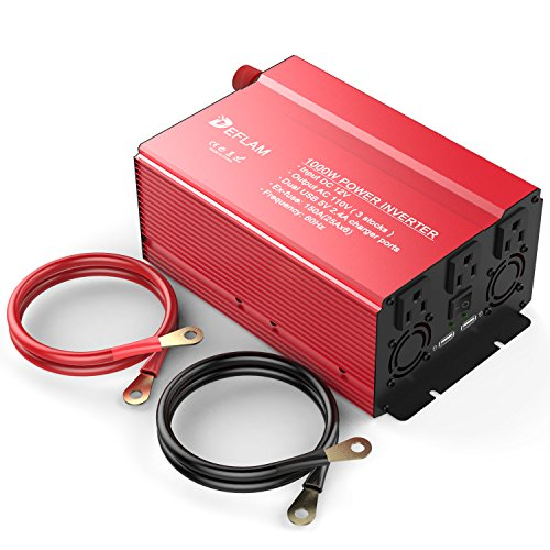 DEFLAM Power Inverter 1000W DC 12V to 110V AC with 3 AC Outlets and Dual USB Charging Ports 5V 4.8A Modified Sine Wave for Household appliances, Cars, Boats Emergency equipment (Converter 2000 Switching Auto Watt)
