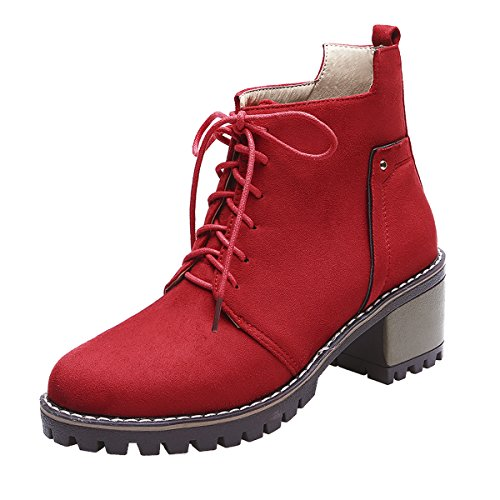 Women 's Martin Boots Casual Fashion Women Boots (Red) - 5