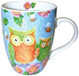 Divinity Boutique Spanish Inspirational Ceramic Mug, Patterned Owls with Scripture, Psalm 32:11, Multicolor