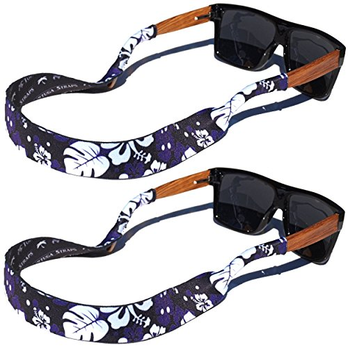 TORTUGA STRAPS FLOATZ RF Maui Blue Black Glasses Strap - 2 Pk | Floating Adjustable Sunglass Straps | Soft & Comfortable Dual Sided Fabric | 3MM Neoprene Base for Added (Neoprene Sunglass Strap)