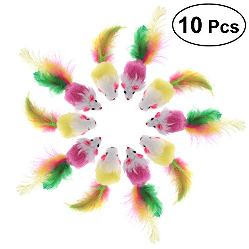 UEETEK 10 PCS Furry Pet Toys Mice Cat Toy Mouse Cat Catcher Toys with Feather Tails(Random Color)