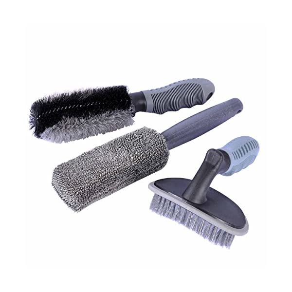 AutoEC Car Wheel Cleaner Brush Kit, 1 Steel Wire Flocking Wheel Cleaning Brush, 1 Metal Free Rim Wash Brush, 1 Contoured Scrub Tire Shine Brush For Auto, Vehicle, Engine, Motorcycle (Pack Of 3)