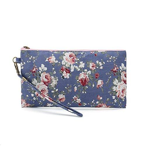 Tote Bag Shopping Bag Shoulder HandBag For Women,Coin Purse Cosmetic Bags MakeUp Bag,School Backpack Travel Bag College Bags For Teen Girls Student Women (A-MakeUp Bag-Floral-Dark Blue)