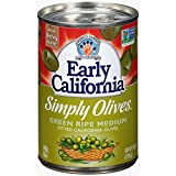 Early California Simply Olives Green Ripe Pitted, (12) EZ Open 6-Ounce Cans