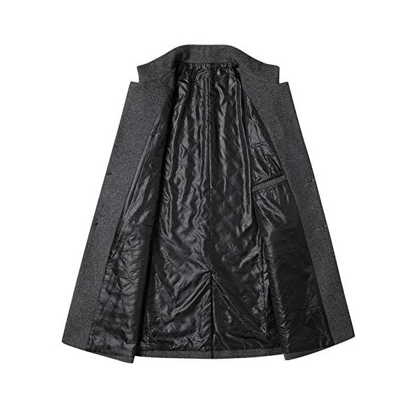 Manteau Homme Hiver Long Trench Coat en Laine Chaud Veste Slim Deux Boutonnages Pardessus Parka Coupe Vent