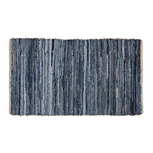 VHC Brands Coastal Farmhouse Flooring - Denim & Hemp Blue Chindi/Rag (Denim Runner Rug)