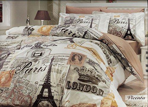 100% Cotton 4pcs Paris Brown Full Double Size Duvet Quilt Cover Set Eiffel Vintage Theme Bedding Linens