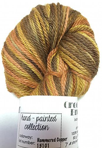 (Hand Dyed Baby Alpaca Yarn, Hand Painted Hammered Copper, Dk Weight, 80 Grams, 200 Yards, 100% Baby Alpaca)