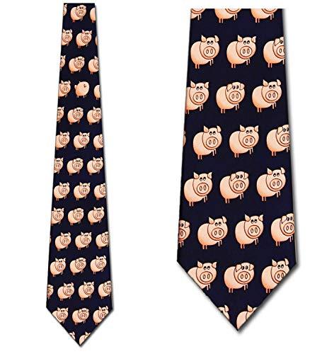Small Pigs Allover Tie Mens Necktie by Three - Ties Pigs