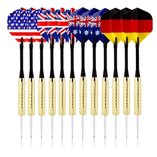 Playing Darts (Set Of 12 Tip Darts Premium Quality Darts For Dartboard Game By BriteNway – With 4 Styles Of National Flag Flights – Stainless Steel Needle Tip – Bonus 3 PVC Replacement Rods & Storage Case Included)