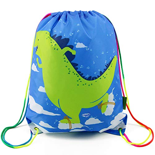 Dinosaur Drawstring Backpack Bag for Kids Boys Girls Teens, Gift String Bag Gym Cinch Sack for School and Birthday Party ()