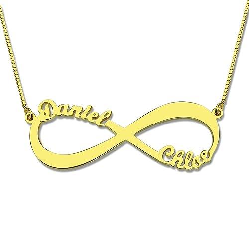 Godmoy Collar Infinito Nombre Parejas Collar de Plata 925 Rose Chapado en  Oro Personalizado Collar con 2 Nombre  Amazon.es  Joyería 6453d1e3125
