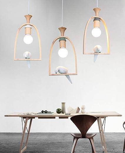 Amazon.com: Lámpara de madera creativa para colgar en el ...