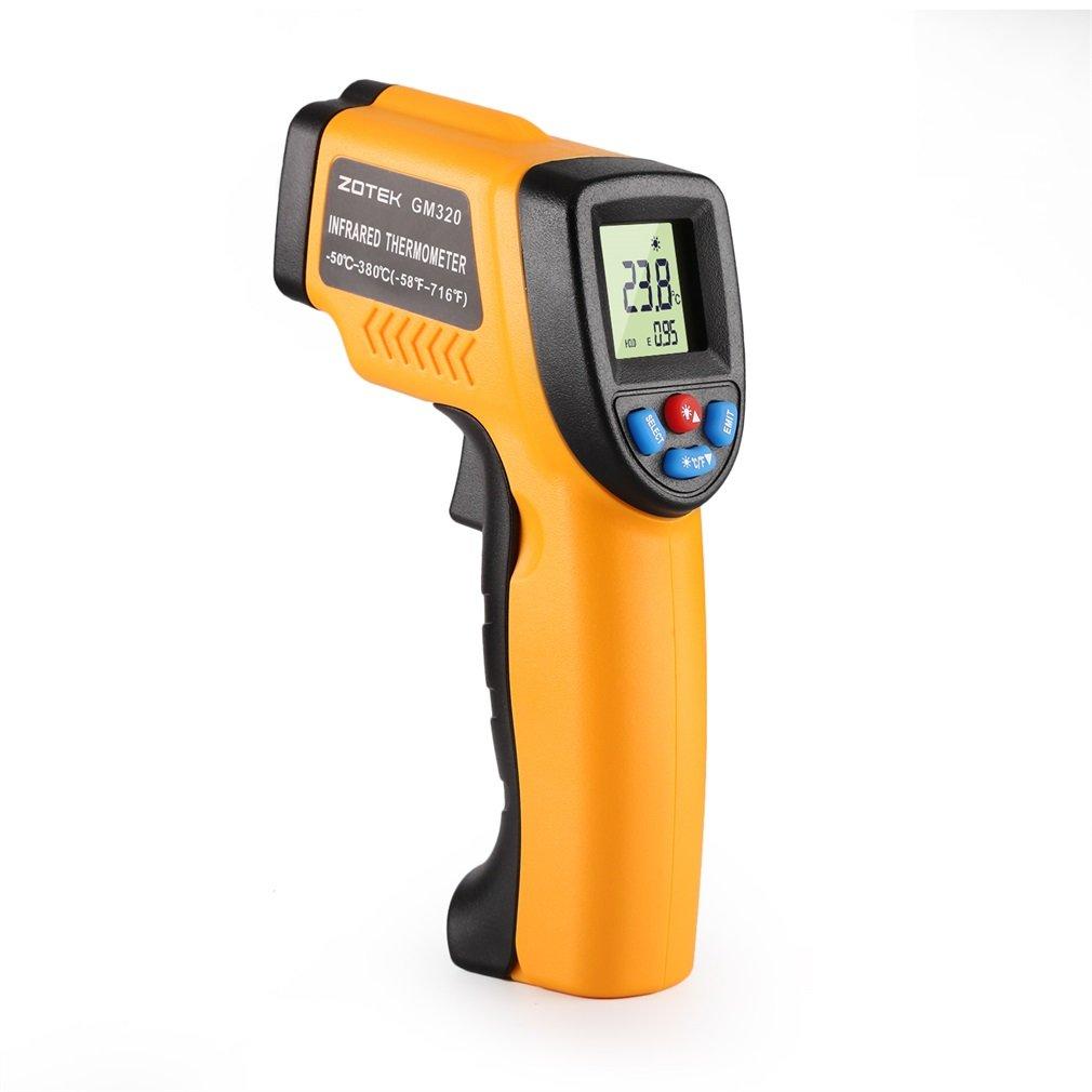 Infrared Thermometer,ZOTEK G320 Compact Laser Digital Infrared Thermometer -58°F and 1022°F Accurate Adjustable Emissivity with LED Backlight Display Laser Target Pointer