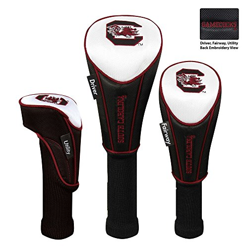 Pack 3 Golf Headcovers (NCAA South Carolina Gamecocks Garnet 3-Pack Golf Club Headcovers)