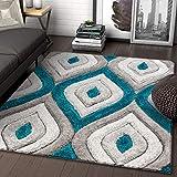 Well Woven Moira Blue Geometric Trellis Thick Soft Plush 3D Textured Shag Area Rug 8x10 (7'10' x 9'10')