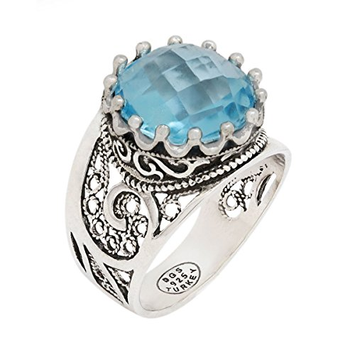 - 925 Sterling Silver Purple Amethyst Yellow Citrine Blue Topaz Round Filigree Paisley Ring (Size 5 - 12) (7, blue-topaz)
