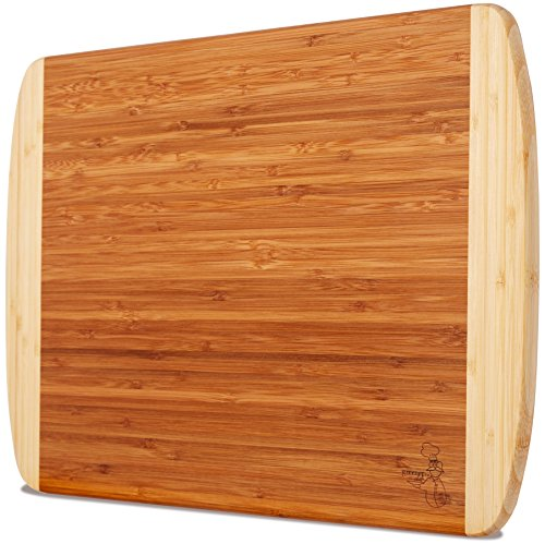 Extra Large Organic Bamboo Cutting Board for Kitchen - NEW CRACK-FREE DESIGN - Best Wood Chopping Boards w/Juice Groove for Carving Meat, Wooden Butcher Block for Vegetables & Serving Tray for Cheese by Greener Chef (Image #3)