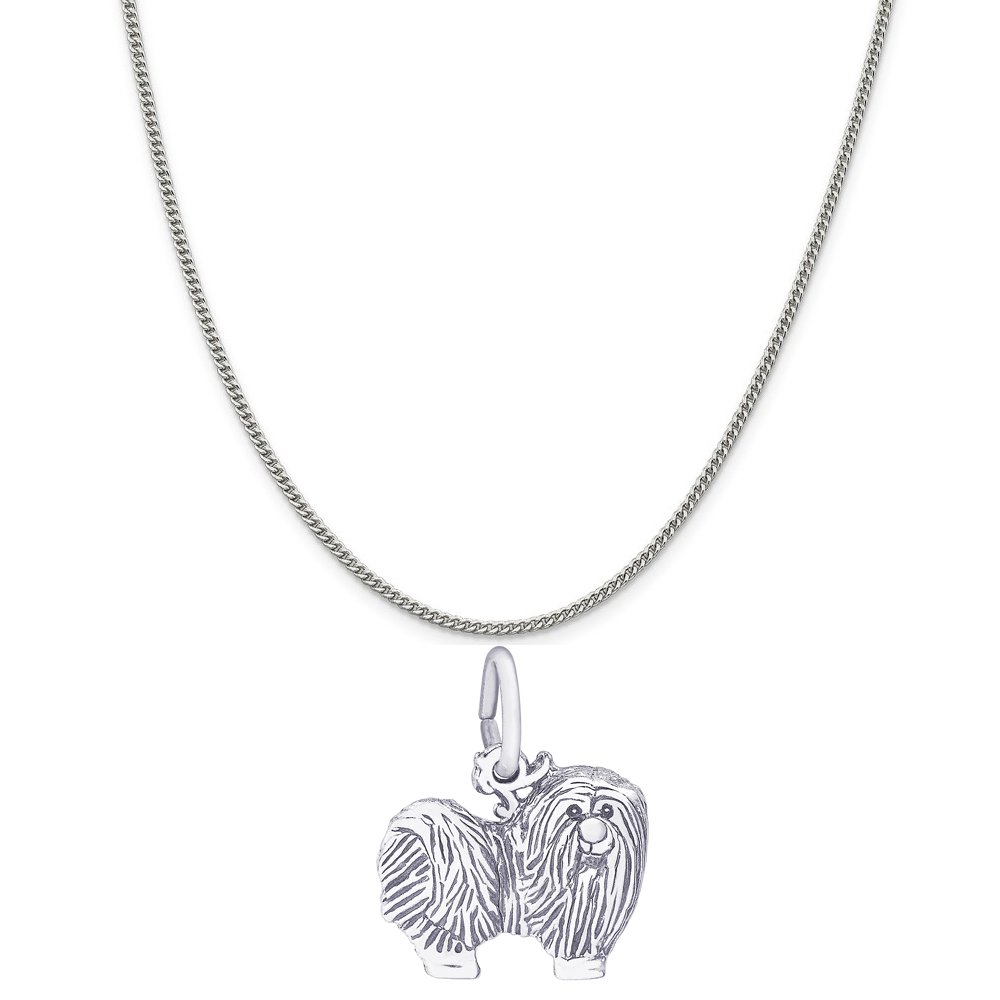 Rembrandt Charms 14K White Gold Maltese Charm on a 14K White Gold Curb Chain Necklace, 18''