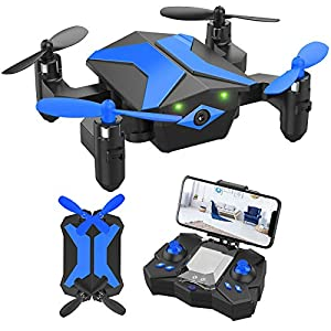 Flashandfocus.com 51%2BjaiUgUPL._SS300_ Mini Drone with Camera for KidsBeginners, Foldable Pocket RC Quadcopterwith App Gravity Voice Control Trajectory Flight, FPV Video, Altitude Hold, Headless Mode, 360°Flip, Toys Gifts for Boys Girls